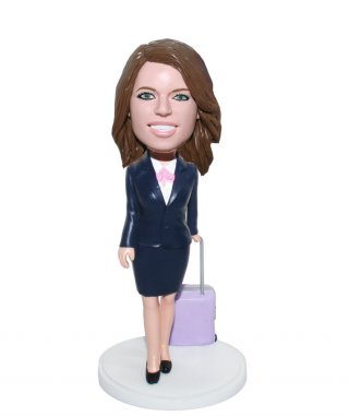 Custom Bobblehead doll Female With A Suitcase