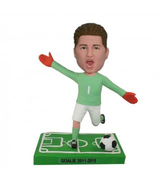 Personalized Male Bobblehead Doll Kicking The Soccer Ball