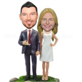 Simple Dress Bride And Groom BobbleHeads