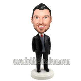Hands In Pockets Grey Vest Businessman Bobblehead Doll
