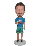 Custom Bobblehead Male In Hawaii Shorts With A Bottle