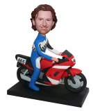 Custom Bobblehead Male Astride On A Motorcycle