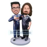 Customized Bobbleheads Motorcycle Racers Posing With Together