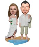 Beach Wedding Couple on The Half Sand And Sea Base Bobbleheads