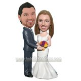 Grey Suit Groom Arms Around Bride Couple Bobbleheads