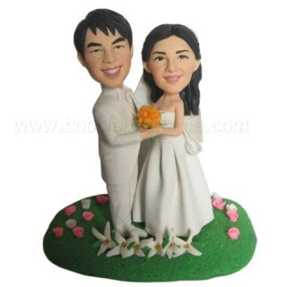 Creat Your Own bobblehead All White Bride And Groom