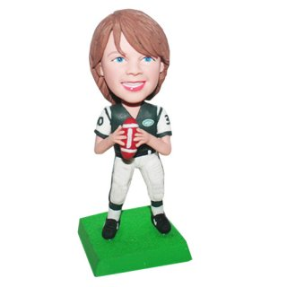 Football Player Boy Ready Throwing Ball Bobble Head