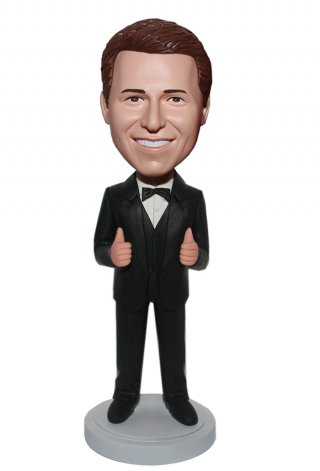 Thumbs Up Black Bow Tie Handsome Groomman Bobbleheads