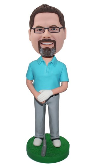 Custom Bobbleheads Golfer In Polo Shirt And Long Pants