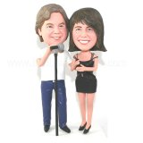 Singer Couple Microphone In Front Custom Bobbleheads
