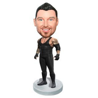 Personalized The Martial Muscle Male In Black Bobblehead