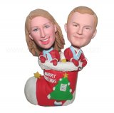 Chrismas Couple In Christmas Stocking personalized Bobbleheads