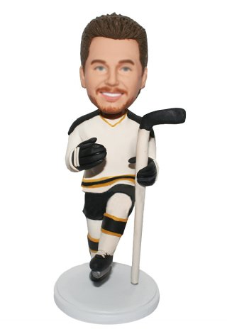 Customized Bobbleheads Skating Male In Hockey Outfit And A Stick