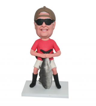 Casual Dress Male Holding A Large Fish Custom Bobblehead Doll