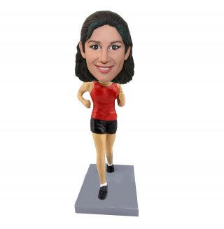 Running Woman In Red And Black Short Bobbleheads