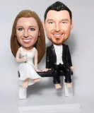 Bare Foot Bride And Groom Sit On Chair Wedding BobbleHeads