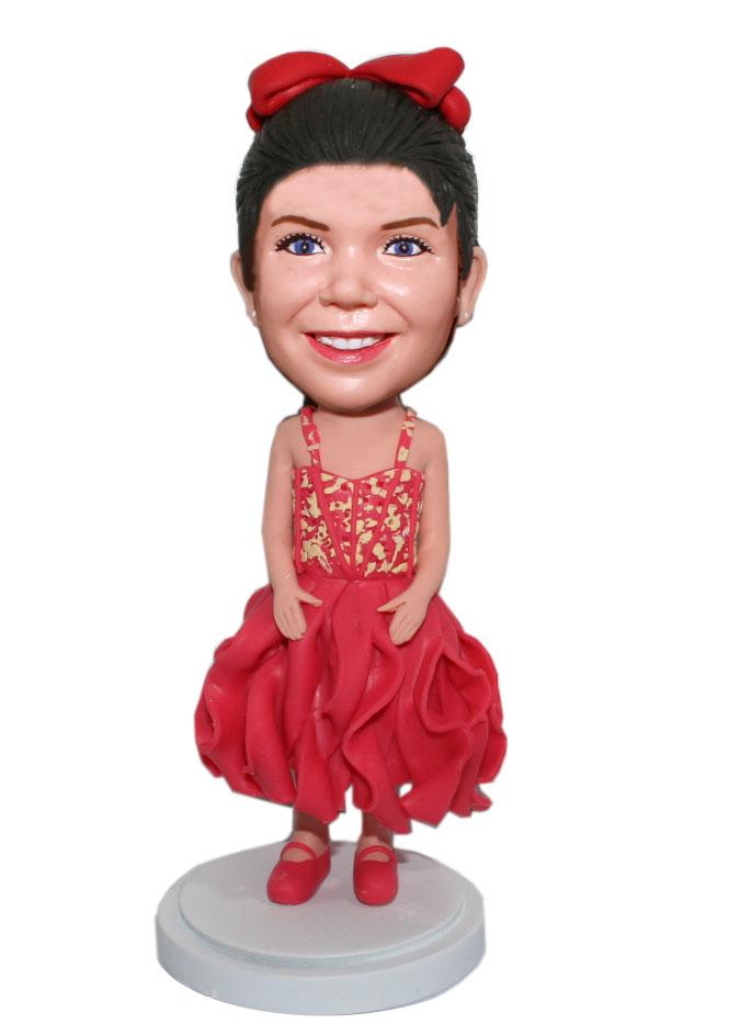 Custom Baby Girl Bobble Doll In Skirt And Red Dance Shoes