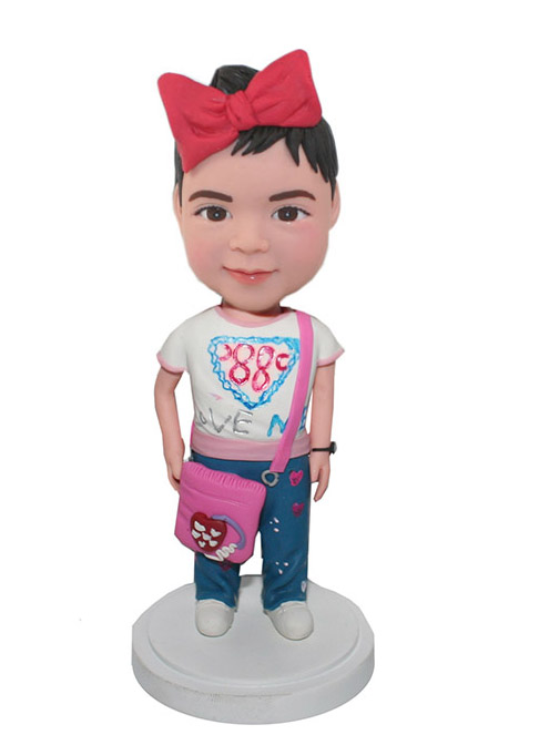 Customized Little Girl Bobblehead With Pink Purse
