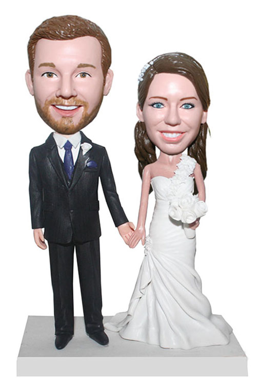 Customized Wedding Cake Topper Bobbleheads Bride And Groom Hand In